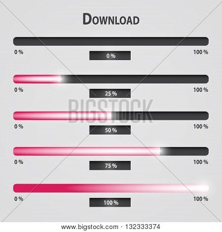 Pink Lights Internet Download Bars Set Eps10