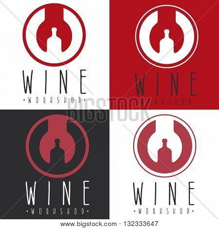 Wine Workshop Negative Space Concept With Wrench And Bottle
