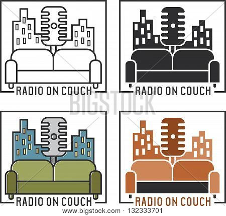Vintage Labels Of Radio With Microphone And Couch