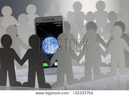 Kuala Lumpur Malaysia, 28th may 2016, group of people man surrounding  at social network wechat sign in page on smartphone