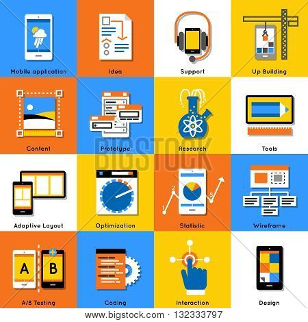 Mobile application flat icon set with description of mobile application idea support research content prototype and ext vector illustration