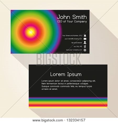 Simple Colorful Wheel And Black Business Card Design Eps10