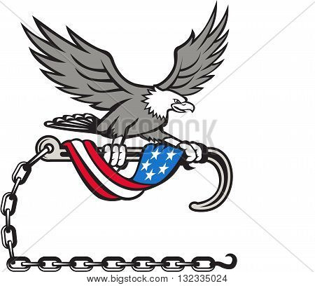 Illustration of an american bald eagle clutching with its talon a towing j hook with chains draped with usa american flag set on isolated white background done in retro style style.