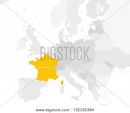 France locate modern detailed map. All european countries without names. Vector template of beautiful flat grayscale map design with France beautiful name text and location