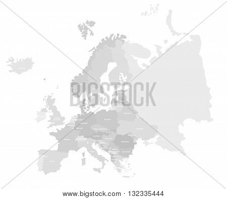 Europe modern detailed map. All european countries with names. Vector template of beautiful flat grayscale map design