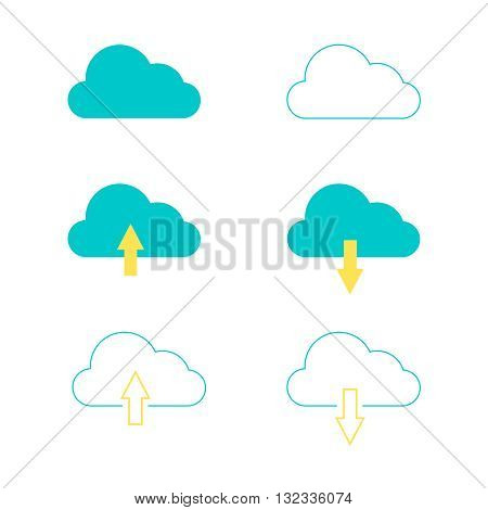 vector cloud with arrow icon illustration solated set