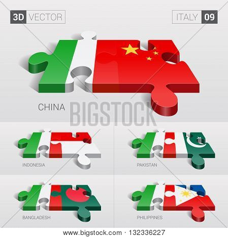 Italy and China, Indonesia, Pakistan, Bangladesh, Philippines Flag. 3d vector puzzle. Set 09.