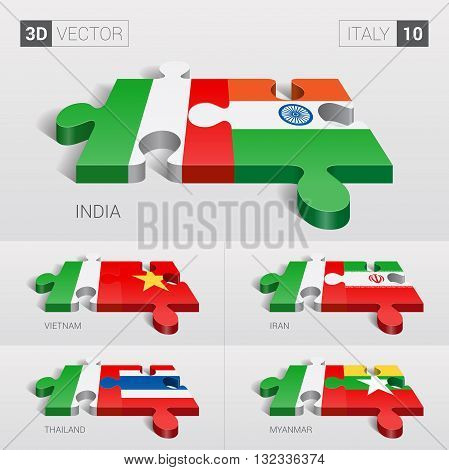 Italy and India, Vietnam, Iran, Thailand, Myanmar Flag. 3d vector puzzle. Set 10.