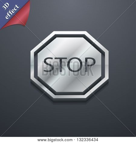Stop Icon Symbol. 3D Style. Trendy, Modern Design With Space For Your Text Vector