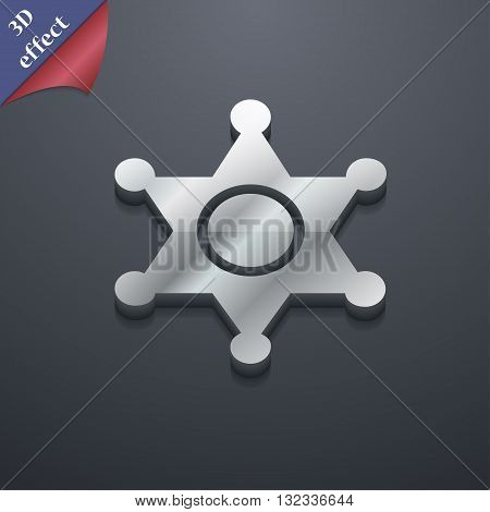 Sheriff, Star Icon Symbol. 3D Style. Trendy, Modern Design With Space For Your Text Vector
