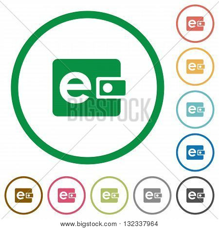 Set of electronic wallet color round outlined flat icons on white background