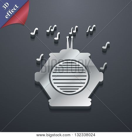 Old Analog Radio Icon Symbol. 3D Style. Trendy, Modern Design With Space For Your Text Vector