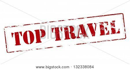 Rubber stamp with text top travel inside vector illustration