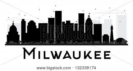 Milwaukee City skyline black and white silhouette. Simple flat concept for tourism presentation, banner, placard or web site. Cityscape with landmarks