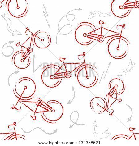 Red sport bike Ornament. Patterned Design Element, bicycle logo for your design. Bike design.illustration. Seamless pattern. Vector