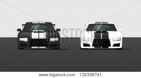 Sport cars isolated vector illustration, black and white super cars front view, expensive tuned cars