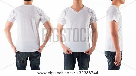 Young man with blank white shirt isolated white background on front back and side
