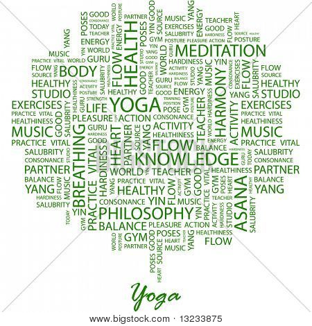 YOGA. Word collage on white background. Illustration with different association terms.
