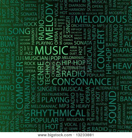 MUSIC. Word collage. Illustration with different association terms.