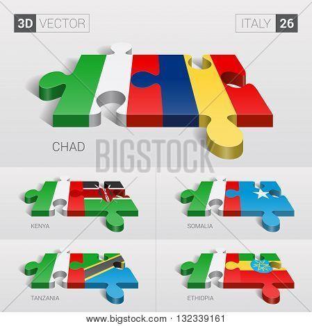 Italy and Chad, Kenya, Somalia, Tanzania, Ethiopia Flag. 3d vector puzzle. Set 26.
