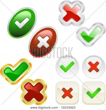Approved and rejected buttons. Vector set. Great collection.