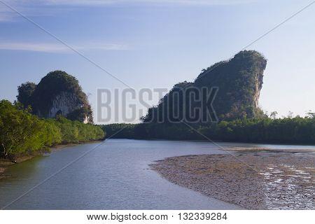 Krabi landmark (Kanaab Nam Cliff) Krabi Town Thailand.