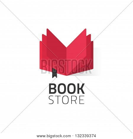 Bookstore logo vector illustration isolated on white, flat red open book logotype for bookshop, cartoon book icon design