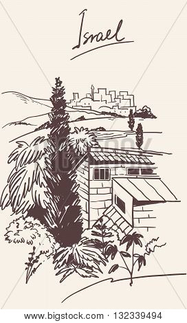 Israel old city skyline. place in Israel. Handmade drawing isolated in vector. Postcard poster template. Freehand drawing.