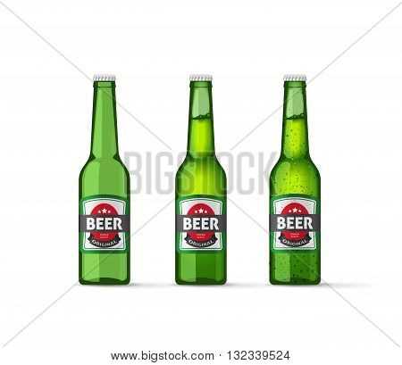 Beer bottles vector illustration, realistic empty beer bottle, full beer bottle and cold beer bottle isolated on white background