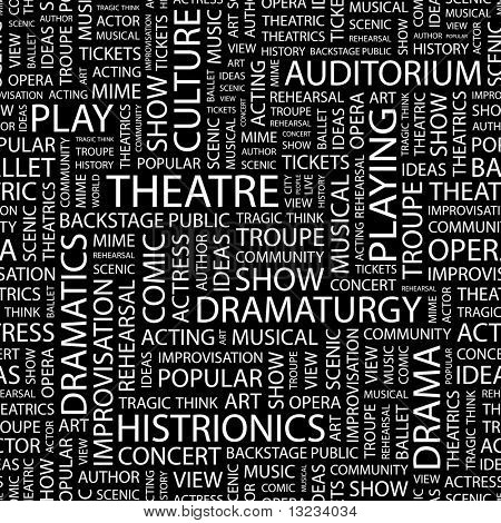 THEATRE. Seamless vector pattern with word cloud. Illustration with different association terms.