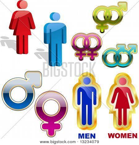Männliche und weibliche Symbol. Vector-Set.