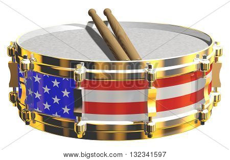 Gleaming 3D render of a snare drum with American flag design, isolated on white.