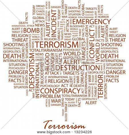 TERRORISM. Word collage on white background. Word cloud concept illustration of  association terms.