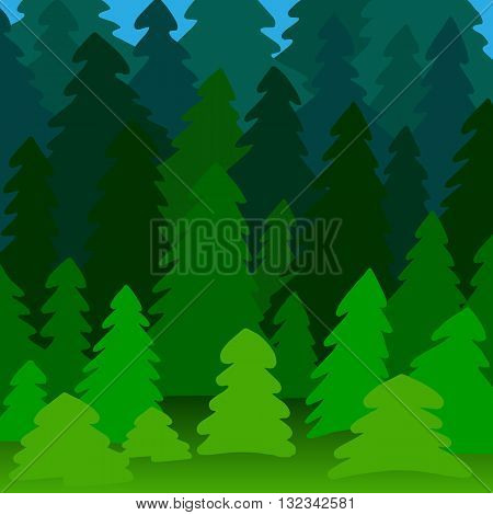 Illustration of a pine forest near and long-range plan