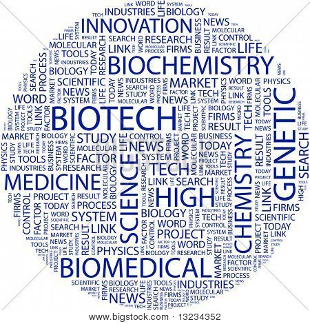 BIOTECH. Word collage on white background. Illustration with different association terms.
