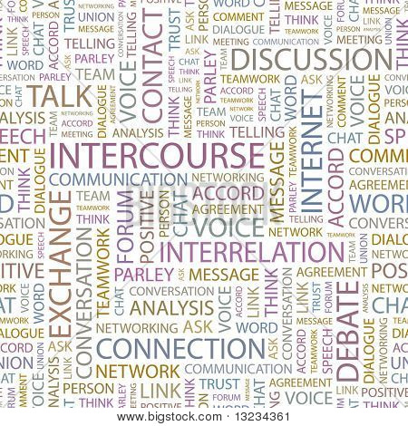 INTERCOURSE. Seamless vector pattern with word cloud. Illustration with different association terms.