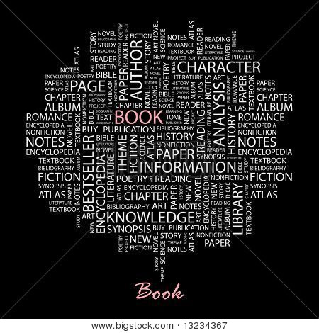 BOOK. Word collage on black background. Illustration with different association terms.
