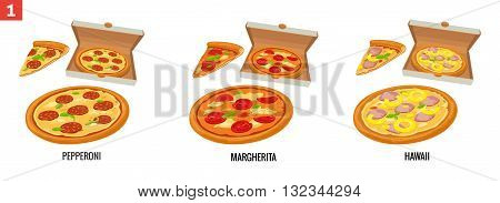 Whole pizza and slices of pizza in open white box. Pepperoni Hawaiian Margherita. Vector isolated flat illustration for poster menus brochure web and icon.