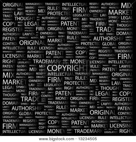 COPYRIGHT. Word collage on black background. Vector illustration.