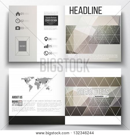 Vector set of square design brochure template. Microchip background, electrical circuits, science design vector template.
