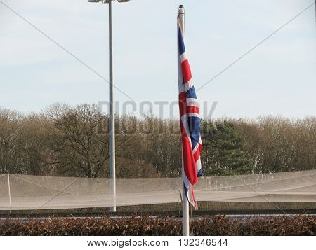 Union Jack - Flag of the UK floating in the air