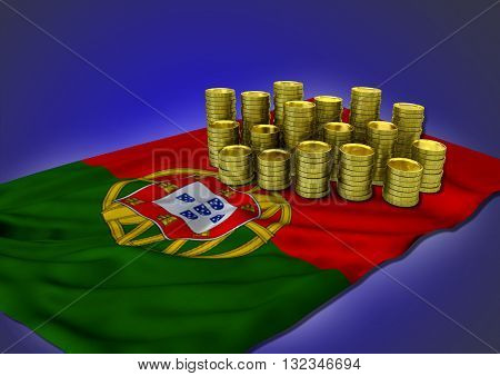 Portugese economy concept with national flag and stack of golden coins on blue background - 3D render
