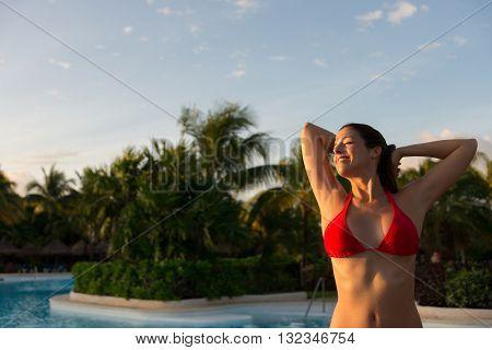 Relaxed Woman Enjoying Summer Vacation At Caribbean Resort