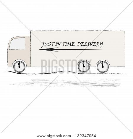 Ilustration of truck on the road  on white background