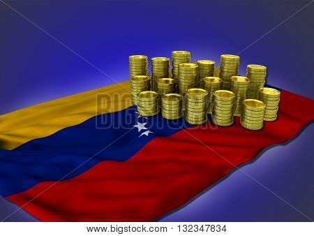 Venezuelan economy concept with national flag and stack of golden coins on blue background - 3D render
