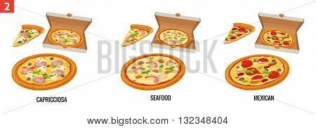Whole pizza and slices of pizza in open white box. Mexican Seafood Capricciosa. Vector isolated flat illustration for poster menus brochure web and icon.