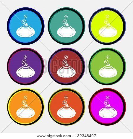 Retro Purse Icon Sign. Nine Multi Colored Round Buttons. Vector