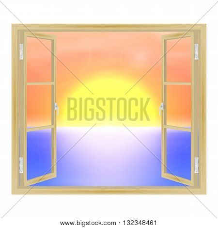 Vector illustration of open wooden window overlooking the sea and the sunset. View from the window.