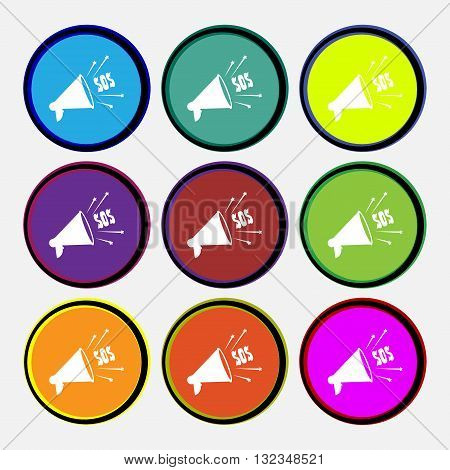Sos Web Speaker Icon Sign. Nine Multi Colored Round Buttons. Vector