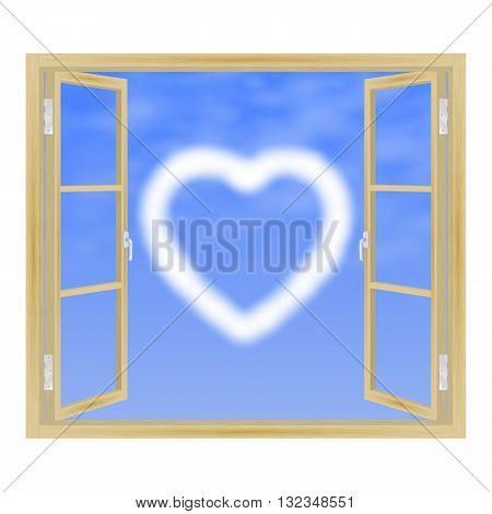 Vector illustration of open wooden window with a view of the clouds in the form of heart. View from the window.